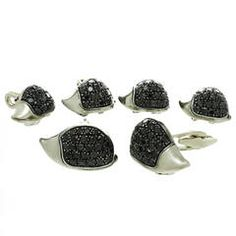 1990s deGrisogono Black Diamond Sterling Silver Porcupine Cufflinks and Studs