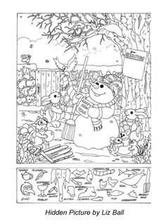 Topsy Turvy Land - Activities, Coloring Pages, Poetry, and More! : New Year's Day Hidden Picture Puzzle/Coloring Page Puzzles For Kids, Worksheets For Kids, Winter Activities, Christmas Activities, Hidden Picture Puzzles, Hidden Object Puzzles, Hidden Picture Games, Hidden Letters, Colouring Pages