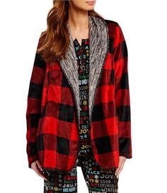 Sleep Sense Buffalo Checked-Print Plush Cardigan Robe  e7ac8a0e6