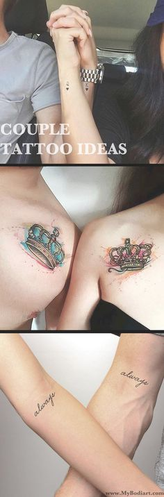 Cute Couple Tattoo Ideas for Boyfriend & Girlfriend - Small Queen and King Crown Shoulder Wrist Tatouage - Always Script Quote Arms Ideas Del Tatuaje - www.MyBodiArt.com
