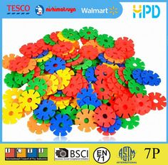 100pcs//Set Plastic DIY Snowflake Puzzle Building Blocks Kids Educational Toys VC