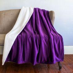 2018 pantone color of the year, pantone color of the year 2018, Bright Solids Sherpa Decorative Throw Blanket, bright purple blanket, pantone ultra violet, dark purple