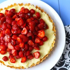 This Strawberry Tart is so creamy and dreamy. Fresh strawberries scattered over a delicious, pastry cream, nestled in a sweet tart dough.