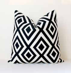 "Black Ivory Geometric Designer Pillow Cover 18"" Modern accent cushion hollywood regency imperial trellis david hicks style jet onyx cream"