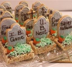 """Halloween Tombstone Treats:   """"I made these for my son's kindergarten Halloween party, and the children LOVED them. What I like best is that I could buy everything pre-made and just assemble it."""" -Angie Dobbels"""
