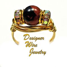 DWJ0446 Stunning Gold and Blue Sandstone Gemstone Solitaire Gold Wire Wrap Ring All Sizes