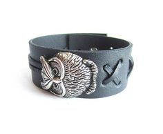 Mens owl leather bracelet mens black leather cuff owl