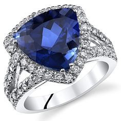 600 Carats Trillion Cut Created Blue Sapphire Cocktail Ring Sterling Silver Size 8 -- More info could be found at the image url.