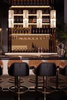 Bar interior design can give you the finest lighting inspiration. #modernchandeliersblog #lifestylebyluxxu #luxxumoderndesignliving #luxurydecoration #luxury #bar #designideas #bardesign #lighting #interiordesign Luxury Bar, Luxury Decor, Bar Interior Design, Modern Chandelier, Liquor Cabinet, Dining, Lighting, Inspiration, Furniture
