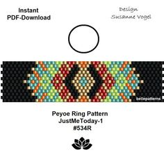 peyote ring pattern pdfpdf-downloadDIYinstant downloadring Peyote Patterns, Bead Patterns, Beaded Crafts, Peyote Stitch, Beaded Rings, Beading Tutorials, Seed Beads, Necklaces, Glass