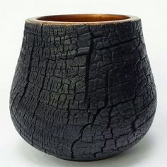 Black and copper. Lathe Projects, Wood Turning Projects, Wood Projects, Woodworking Projects, Charred Wood, Bois Diy, Got Wood, Wood Bowls, Wooden Art