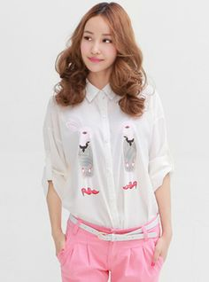 Lapel Long-sleeved Chiffon Shirt