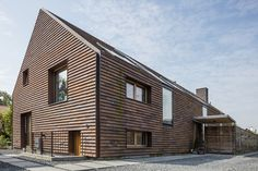 Brick Roof, Gable House, Wooden Facade, Exterior Cladding, Clay Tiles, Facade Design, House In The Woods, Building Materials, Detached House