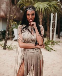 Party Dress Outfits, Stage Outfits, Summer Outfits, Festival Coachella, Festival Outfits, Tropical Party Outfit, Jungle Outfit, Burning Man, Macrame Dress