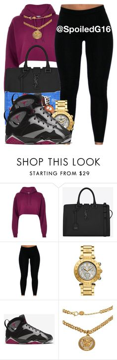 """""""Salty and Sweet!"""" by spoiledg16 ❤ liked on Polyvore featuring River Island, Yves Saint Laurent, Candie's, NIKE and Versace"""