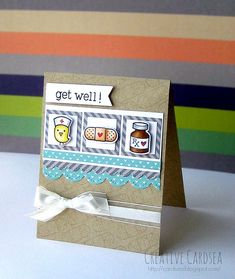 Lawn Fawn - Get Well Soon + coordinating dies, Stitched Journaling Card, Scalloped Borders, Let's Polka 6x6 paper _ super adorable get well card by Elle at Creative Cardsea via Flickr - Photo Sharing!