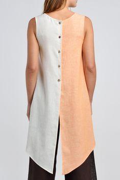 Linen Button Back Opening Color Block Sleeveless Tunic Linen Dress Pattern, Linen Tunic Dress, Tunic Pattern, Sleeveless Tunic, Linen Pants, Linen Dresses, Van Laack, Overall, Simple Dresses