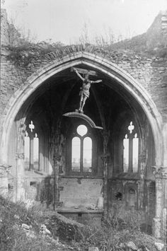 demons:  The inside of a heavily mined church during the retreat from Verdun, 1918