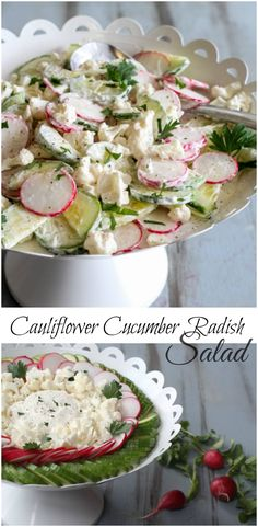 Easy and delicious salad with cauliflower, radishes and cucumber. ValentinasCorner.com