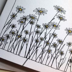 Continuous line doodle wildflower notecards: Daisies