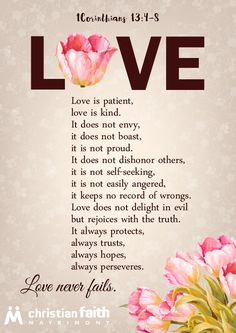 1 Corinthians 13 - Free Love Printable from ChristianFaithMatrimony.com