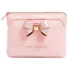 Ted Baker London Layered Bow Makeup Bag (Nordstrom Exclusive) (385 ZAR) ❤ liked on Polyvore featuring beauty products, beauty accessories, bags & cases, bags, pink, filler, cosmetic purse, cosmetic bags, travel toiletry case and make up bag