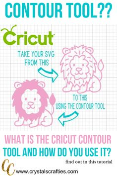 "What is the Cricut Contour Tool and how do you use it? The Cricut Contour Tool is really an amazing tool if you know how to use it. Just think of it as a ""magic eraser"". You use the Cricut Contour Tool to get Cricut Air 2, Cricut Help, Inkscape Tutorials, Cricut Tutorials, Cricut Ideas, Cricut Vinyl Projects, Design Thinking, Circuit Machine, Cricut Cuttlebug"