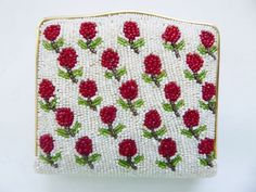 Vintage 1960's jeweled beaded roses powder compact case or pill box, coin purse | eBay