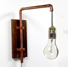 Wall lamp copper industrial design by KupferKult on Etsy