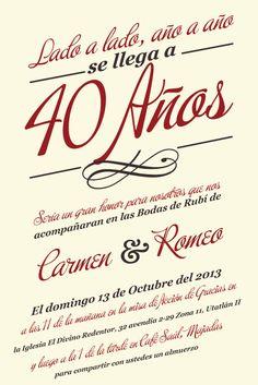 Rosario y Manuel nm 35th Wedding Anniversary, Parents Anniversary, Anniversary Parties, Ruby Wedding, Wedding Coordinator, Lettering, Invitation Ideas, Versailles, Salvador