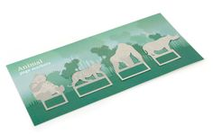 Animal bookmarks  £7.95  A perfect gift for animal and wildlife lovers! The set of metal bookmarks feature a Giant Panda, Javan Rhino, Mountain Gorilla and Sumatran Tiger.