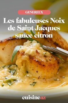 Saint-Jacques These scallops with lemon sauce will be perfect as a quick starter to prepare. Seafood Recipes, Cooking Recipes, Guacamole Deviled Eggs, Fish Stew, Scallop Recipes, Healthy Menu, Lemon Sauce, French Food, Scallops