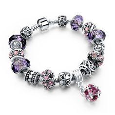 Silver Snake Chain Heart Charm Bracelet