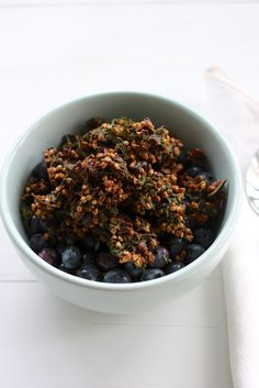 Raw kale granola with buckwheat and chocolate.