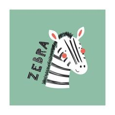 Art Print: Zebra - Illustration of a Cute Funny Zebra Face by Maria Skrigan : Cute Animal Illustration, Pattern Illustration, Character Illustration, Kids Prints, Art Prints, Zebra Kids, Face Doodles, Zebra Face, Bad Drawings