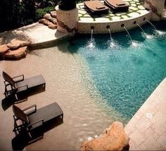 A Beach Entry Pool | 29 Amazing Backyards That Will Blow Your Kids' Minds... Can't even handle this awesome pool