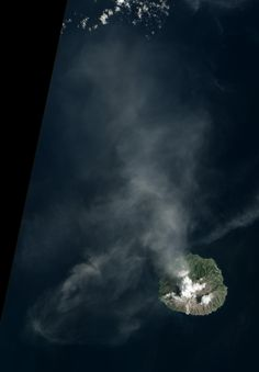 Although the summit of Paluweh (also known as Rokatenda) is shrouded by clouds, evidence of a recent eruption is visible in this satellite image of the Indonesian volcanic island. After rumbling for months, Paluweh released an explosive eruption on February 2 and 3, 2013.