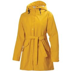 Helly Hansen Women's Kirkwall Rain Coat ($125) ❤ liked on Polyvore featuring outerwear, coats, essential yellow, yellow rain coat, waterproof coat, yellow raincoat, rain coat and waterproof raincoat