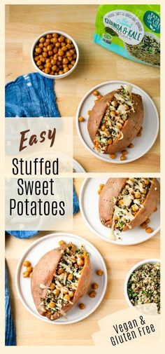 These quinoa stuffed sweet potatoes are a delicious and filling meal and this recipe comes together quickly thanks to a few simple shortcuts! Vegetable Recipes, Vegetarian Recipes, Healthy Recipes, Quinoa Side Dish, Real Food Recipes, Cooking Recipes, Side Dishes Easy, Vegan Foods, Vegetable Dishes