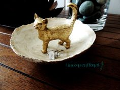 Gold Animal Jewelry Dish Cat Jewelry Holder Ring Dish Trinket Tray Jewelry Plate Bowl Organizer Jewlery  Ring Holder by unconventionalJ on Etsy