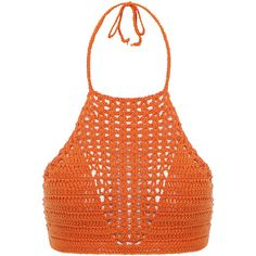 Orange Spiritual Hippie Crochet Tie Back Bralet Top ❤ liked on Polyvore featuring tops, macrame top, bralet tops, orange top, bralette tops and tie back top