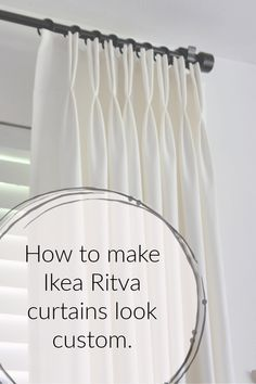 You don't have to spend a fortune on custom drapes…I'll show you how to make ready-made Ikea Ritva curtains look like expensive custom drapes. I think beautif… Ikea Curtains, Floor To Ceiling Curtains, Stenciled Curtains, Porch Curtains, Drop Cloth Curtains, Pleated Curtains, Window Drapes, Hanging Curtains, Bedroom Drapes