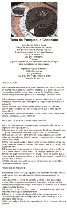 Receta Torta de Panqueque Chocolate