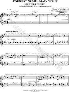 Print and download Forrest Gump - Main Title sheet music from Forrest Gump arranged for Piano. Instrumental Solo in A Major (transposable).