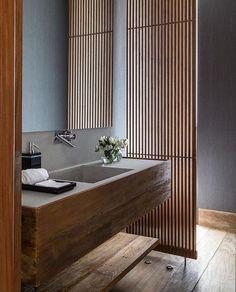 Bathroom designed by Reinach Mendonça Arquitetos Associados . #bathroom #bath #banheiro #banheiros #design #designer #shower #luxury #luxurybathroom #bathroominspo #decoration #architecturedetails #details #projeto #projecto #project #relax #decoracion #idea #ideas #interior #home #decor #bathtime #roomdecor #room #tendencia #modern #wood . All credits correspond to photographerdesignercreator - Architecture and Home Decor - Bedroom - Bathroom - Kitchen And Living Room Interior Design…