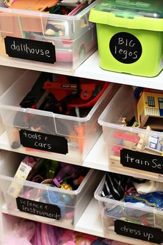 chalkboard labels on toy bins.  or glue (rubber cement) pictures for little ones who can't read yet