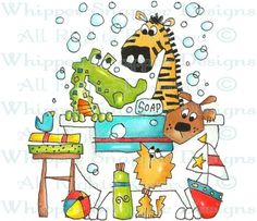 Tub Time - Zoo - Animals - Rubber Stamps - Shop