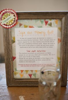 Quilt Guestbook instructions, this is cute