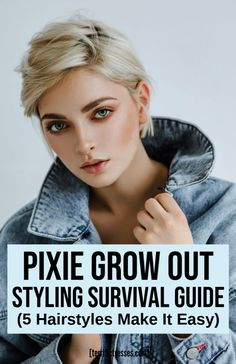 You'll need to know about various haircuts for when growing out a pixie cut. It's not always easy. Hairstyles that flatter are needed every step along the way. If you need tips, ideas or inspo we've got five cute styles and a couple of video tutorials that make the cut. These are easy and demonstrated on real growing out pixies to help you make the transition. #HaircutsForGrowingOutAPixie
