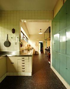 Kitchen of Glass House, 1951, Sao Paulo, Brazil, by Italian architect Lina Bo Bardi via Commune Design.